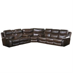 Catnapper Dallas Leather Reclining Sectional in Tobacco