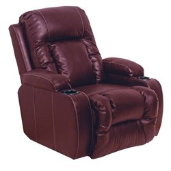 Catnapper Top Gun Leather Home Theater Recliner in Red