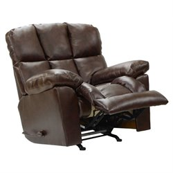 Catnapper Griffey Leather Rocker Recliner in Java