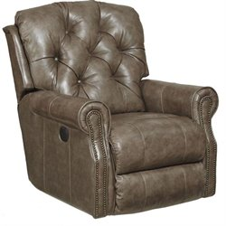 Catnapper Davidson Leather Rocker Recliner in Smoke