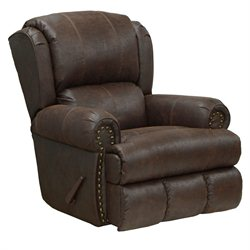 Catnapper Dempsey Deluxe Leather Lay Flat Recliner in Sable