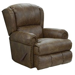 Catnapper Dempsey Deluxe Leather Lay Flat Recliner in Thicket