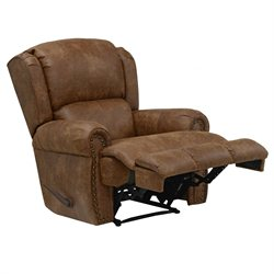 Catnapper Dempsey Deluxe Leather Lay Flat Recliner in Chestnut