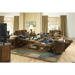 Catnapper Concord 3 Piece Lay Flat Reclining Sofa Set in Pecan