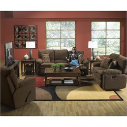 Catnapper Impulse 3 Piece Reclining Fabric Sofa Set in Godiva