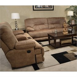 Catnapper Noble Lay Flat Power Reclining Fabric Sofa Set in Almond