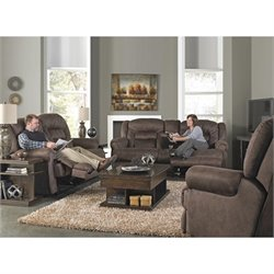 Catnapper Atlas Extra Tall 3 Piece Reclining Fabric Sofa Set in Sable