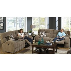 Catnapper Siesta Power Lay Flat 2 Piece Reclining Sofa in Porcini