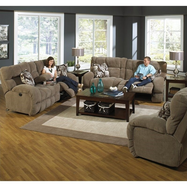 Catnapper Siesta Power Lay Flat 3 Piece Reclining Sofa In Porcini