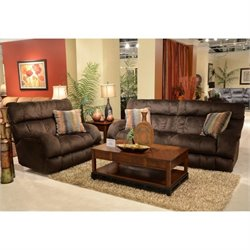 Catnapper Siesta Lay Flat Reclining Fabric Sofa Set in Chocolate