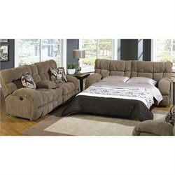 Catnapper Wintergreen 2 Piece Reclining Fabric Sofa Set in Porcini