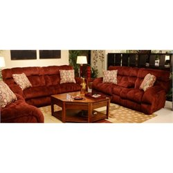 Catnapper Siesta Lay Flat 2 Piece Reclining Fabric Sofa Set in Wine