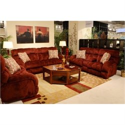 Catnapper Siesta Lay Flat 3 Piece Reclining Fabric Sofa Set in Wine