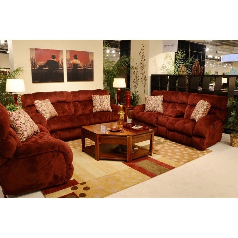 Catnapper Siesta Lay Flat 3 Piece Power Reclining Sofa Set In Wine