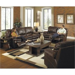 Catnapper Perez 3 Piece Reclining Leather Sofa Set in Chestnut