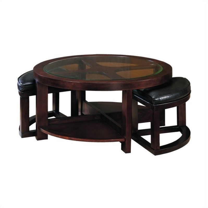 Redell Round Glass Top Cocktail Table With 4 Ottomans In Dark Redwood