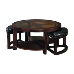 Homelegance Redell Round Cocktail Table with 2 Ottomans and Glass Inserts