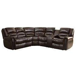 Homelegance Palmyra 3 Piece Leather Reclining Sectional in Brown