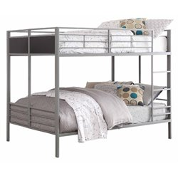 Homelegance Full over Full Folding Metal Bunk Bed in Gray