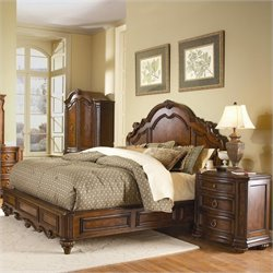 Trent Home Prenzo Low Profile Queen Panel Bed in Brown Finish