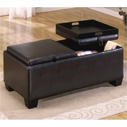 Trent Home Rectangular Faux Leather Storage Bench Ottoman in Espresso