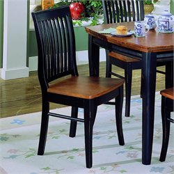 Homelegance Liz Black Slat Back Side Chair with Cherry Top