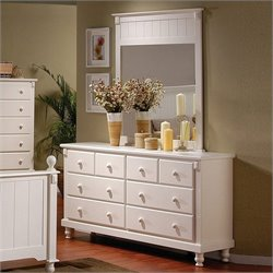Trent Home Pottery White Dresser and Mirror Set