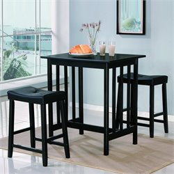 Trent Home 3 Piece Kitchen Dinnette Set in Black