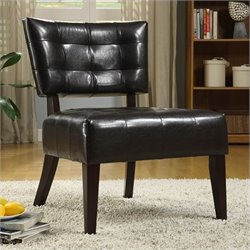 Trent Home Warner Leather Accent Chair in Brown