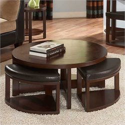 Trent Home Brussel II Round Cocktail Table with 4 Ottomans in Cherry