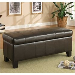 Trent Home Clair Lift Top Storage Bench in Dark Brown
