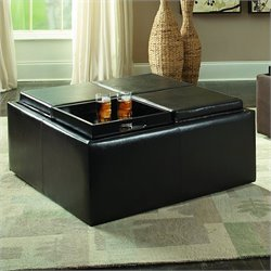 Trent Home Kaitlyn Faux Leather Cocktail Ottoman in Dark Brown