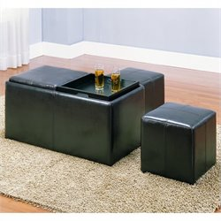 Homelegance Claire Bench w/ 2 Ottomans and Trays in Dark Brown