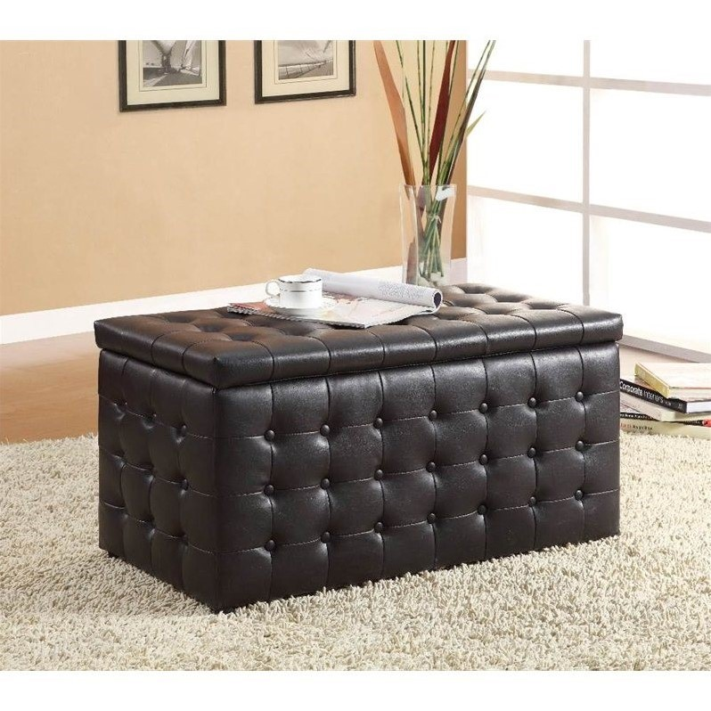 Trent Home Reynolds Faux Leather Storage Ottoman Bench in Dark Brown