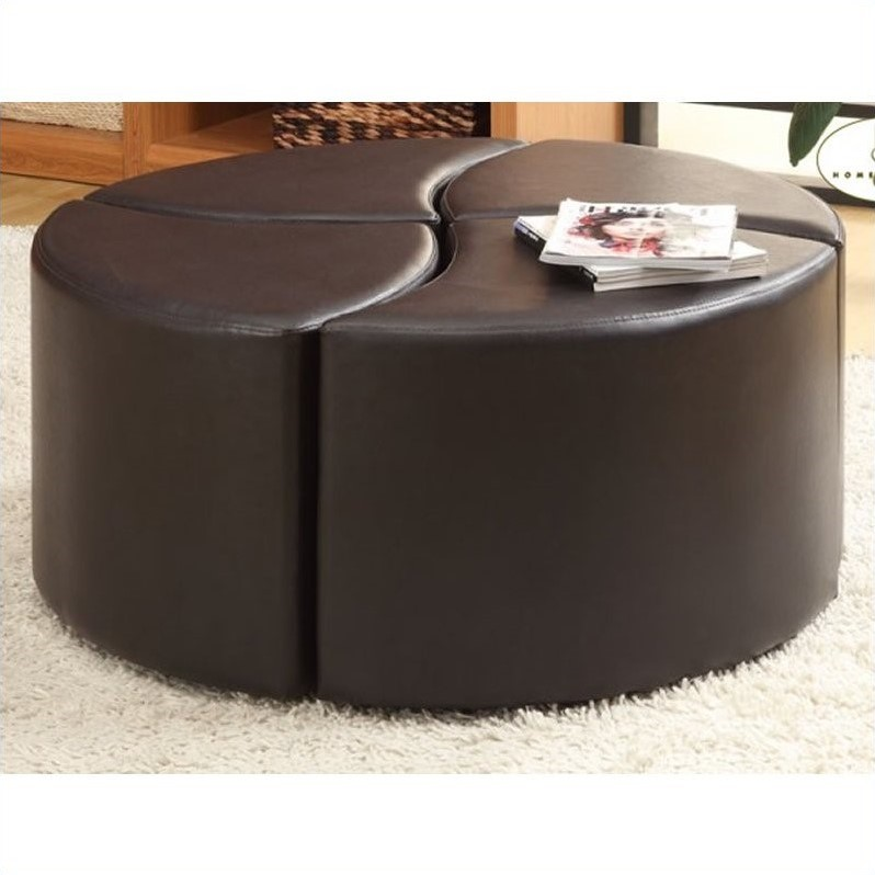 Trent Home Strand 4 Piece Faux Leather Ottoman with Casters in Brown