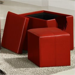 Homelegance Ladd Storage Cube Ottoman in Red