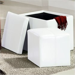 Trent Home Ladd Faux Leather Storage Cube Ottoman in White