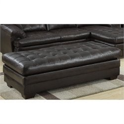 Trent Home Brooks Leather Bench Ottoman in Dark Brown