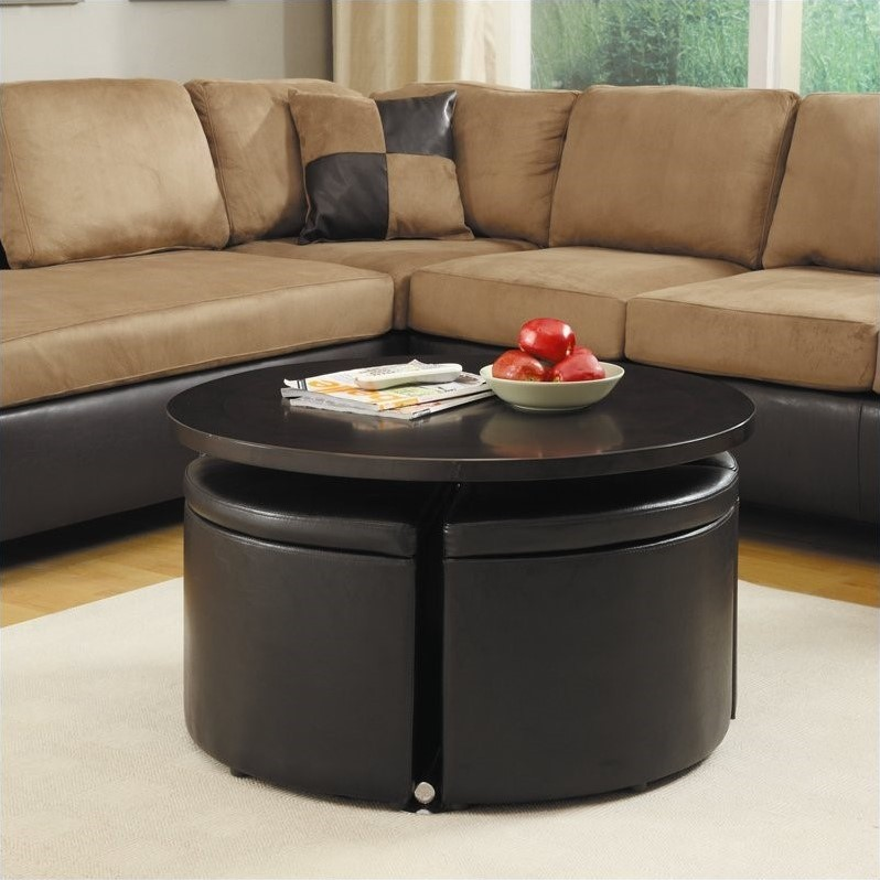 Trent Home Rowley Adjustable Coffee Table with Ottomans in Dark Cherry