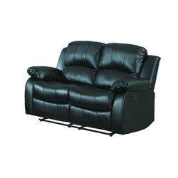 Trent Home Cranley Double Reclining Leather Love Seat in Black