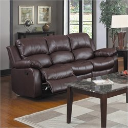 Homelegance Cranley Double Reclining Bonded Leather Sofa in Brown