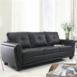 Trent Home Dwyer Sofa in Black Vinyl
