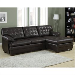 Trent Home Brooks Leather 2 Piece Sectional Set in Rich Dark Brown