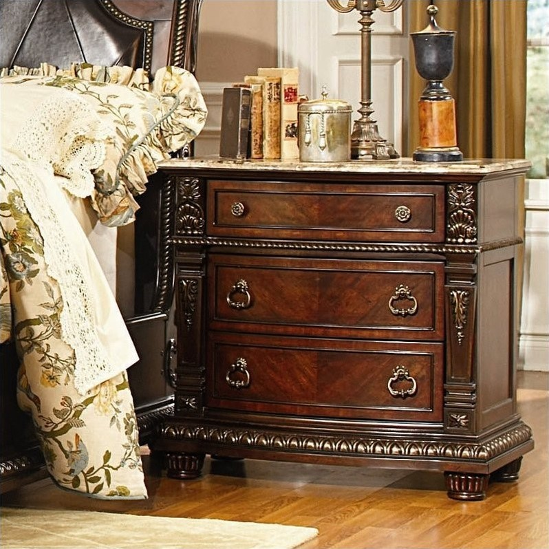 Trent Home Palace Night Stand with Marble Top in Rich Brown