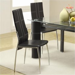 Trent Home Wilner Dining Chair in Black Vinyl (Set of 2)