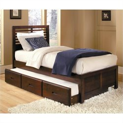 Trent Home Paula Captain Bed with Trundle in Medium Cherry