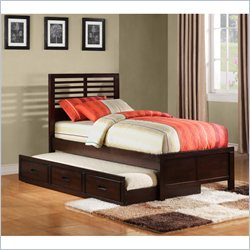 Homelegance Paula II Captain Bed with Trundle in Dark Cherry - Full