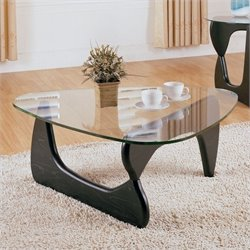 Trent Home Chorus Glass Top Cocktail Table in Black