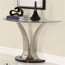 Homelegance Charlaine Glass Top Sofa Table w/ Black Base