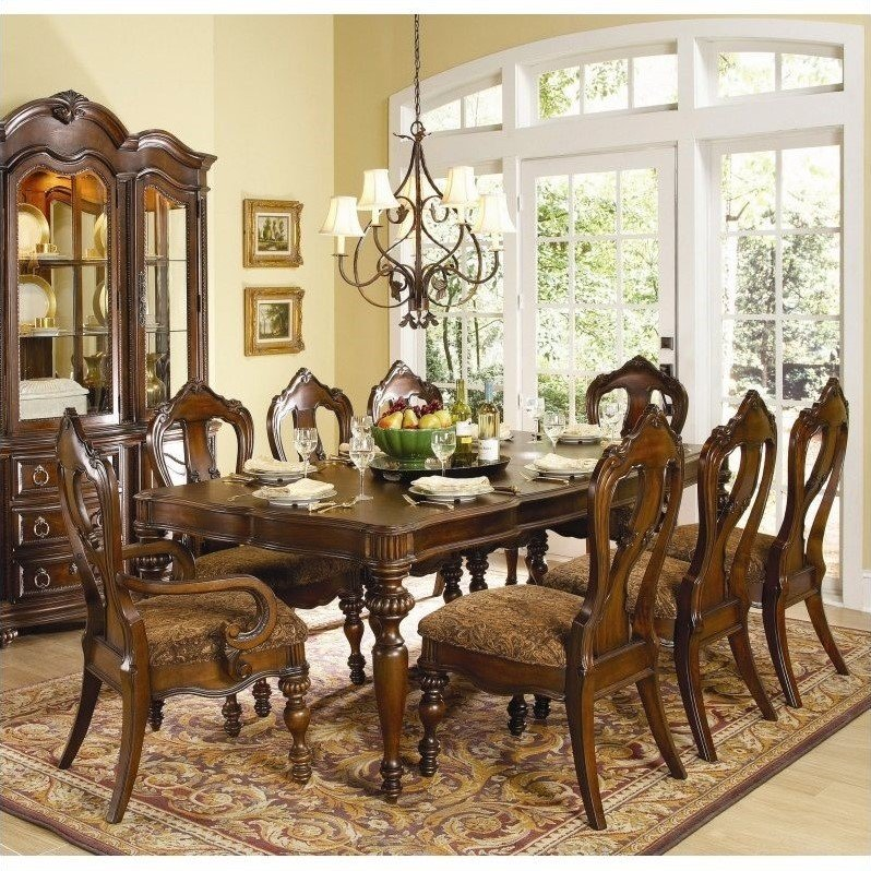 Prenzo 7 Piece Dining Table Set in Warm Brown